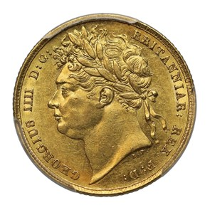 1825 George IV Sovereign Laureate Head - PCGS AU58