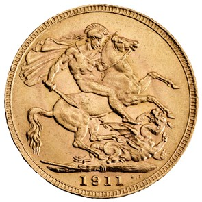 1911 George V Sovereign Melbourne Mint