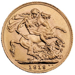 1919 George V Sovereign, Canada Mint Mark
