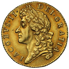 James II (1685-88) 1687 Gold Guinea Second Bust