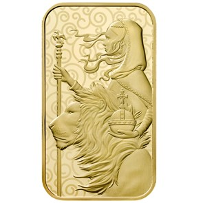 Una & the Lion 1 oz  Gold Bar Minted