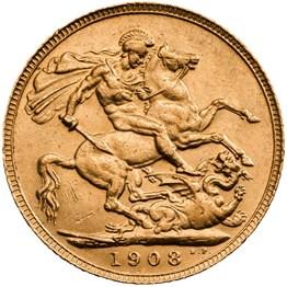 his1908s 1908 sovereign reverse grade ef