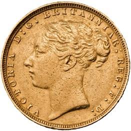 hislmsc 1884 sovereign obverse gd grade avf1