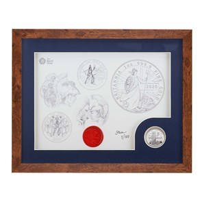 2020 Britannia One Ounce Silver Proof Coin and Print Set - Dark Frame