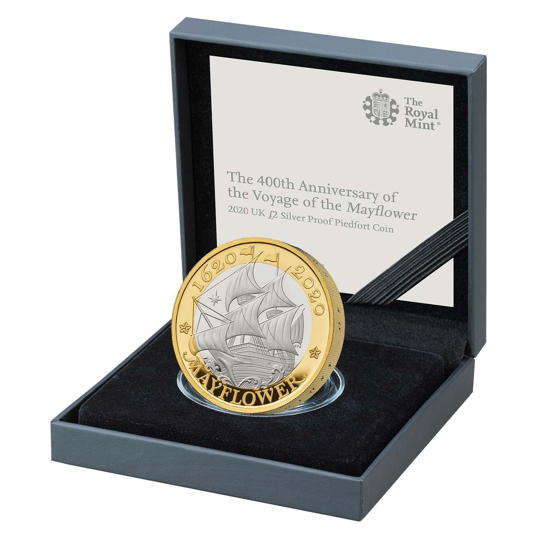 Mayflower 2020 UK £2 Silver Proof Piedfort Coin