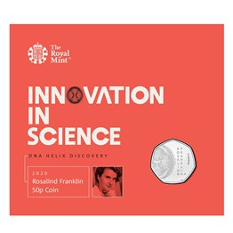 rosalind franklin 2020 uk 50p brilliant uncirculated coin in packaging front  uk20rfbu