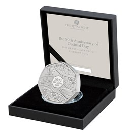 The 50th Anniversary of Decimal Day 2021 UK 50p Silver Proof Piedfort Coin
