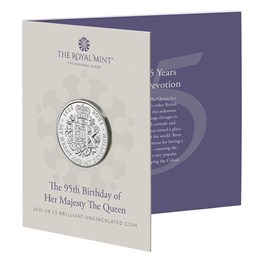 The 95th Birthday of Her Majesty the Queen 2021 £5 Brilliant Uncirculated Coin - Premium Pack