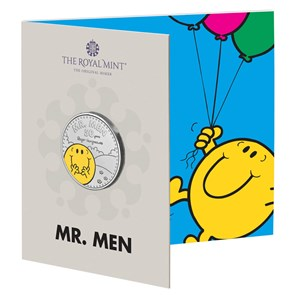 Mr. Happy – The 50th Anniversary of Mr. Men Little Miss 2021 UK £5 Brilliant Uncirculated Coloured Coin