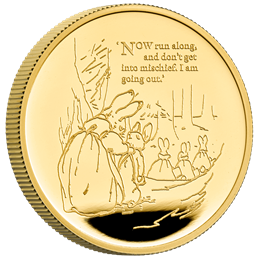 the tale of peter rabbit 2021 uk one ounce gold proof coin reverse on edge uk21pr1g 1500x1500 ea404be