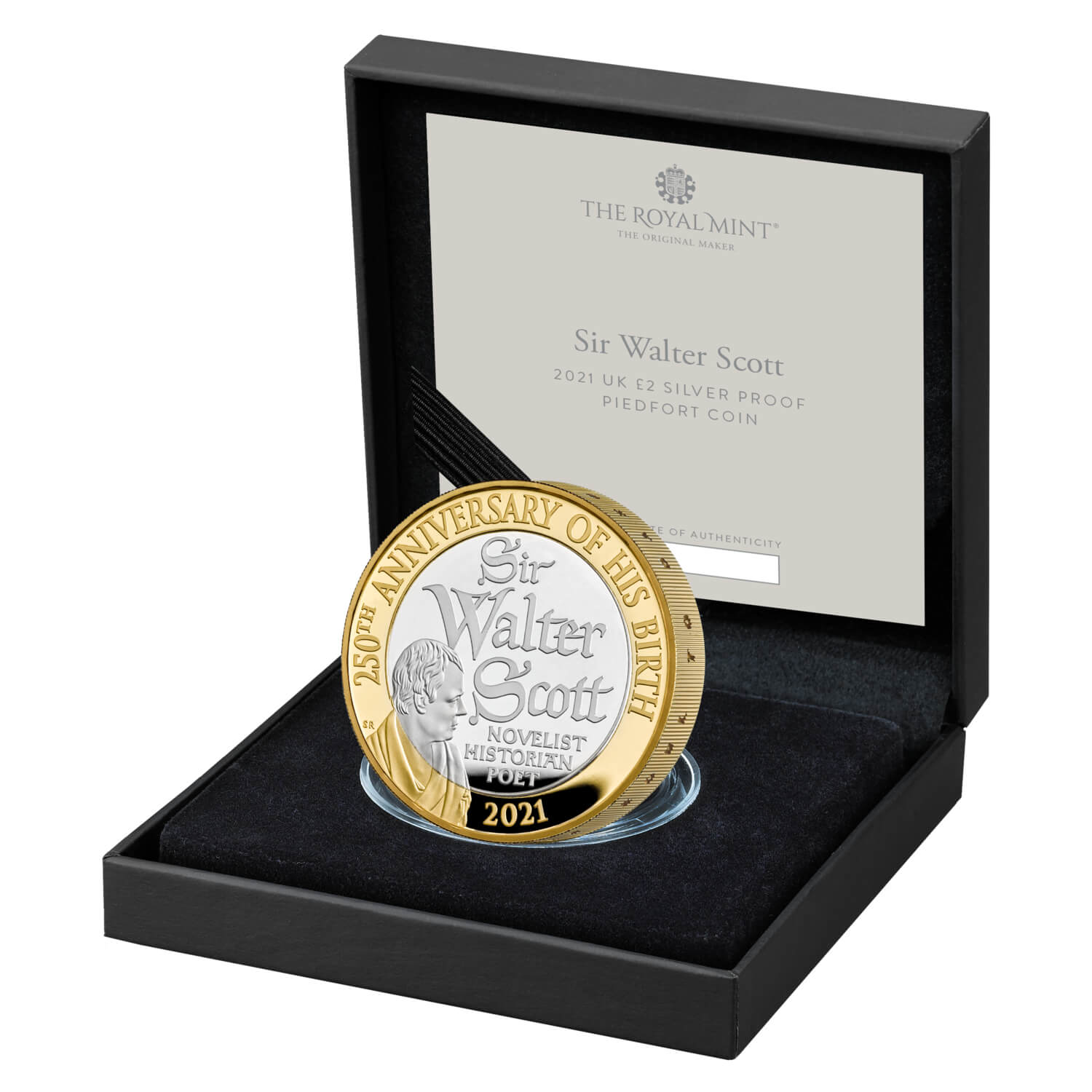 The 250th Anniversary of the Birth of Sir Walter Scott 2021 UK £2 Silver Proof Piedfort Coin