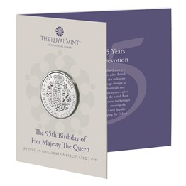 The 95th Birthday of Her Majesty the Queen 2021 £5 Brilliant Uncirculated Coin
