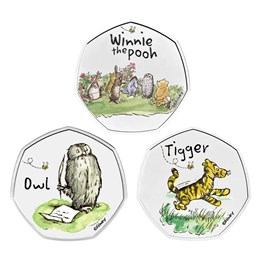 Winnie the Pooh & Friends 2021 UK 50p Brilliant Uncirculated Coloured Coin - 3 coin series