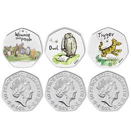 The Winnie the Pooh and Friends 2021 and 2022 UK 50p Brilliant Uncirculated Colour Six-Coin Series