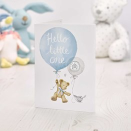 Hello Little One 2020 Silver Penny Baby Card in Blue