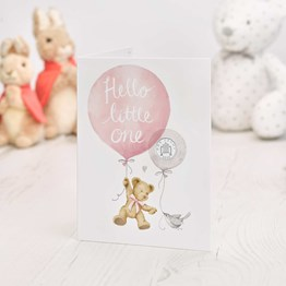 Hello Little One 2020 Silver Penny Baby Card in Pink