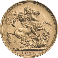 1871 sovereign reverse design