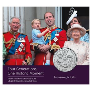 Four Generations of Royalty 2018 UK £5 Brilliant Uncirculated Coin