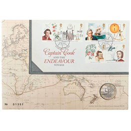 Captain Cook 2018 £2 Brilliant Uncirculated Stamp and Coin Set