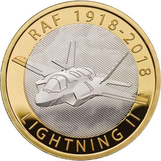 RAF Centenary F 35 Lightning II 2018 UK 2 Silver Proof Coin