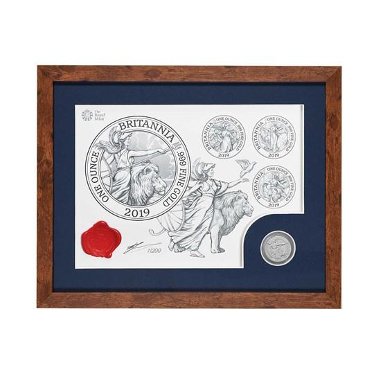 The Britannia 2019 UK One Ounce Silver BU Coin and Print Set - Dark Frame