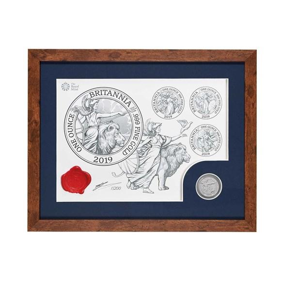 The Britannia 2019 Uk One Ounce Silver Bu Coin And Print Set Dark Frame
