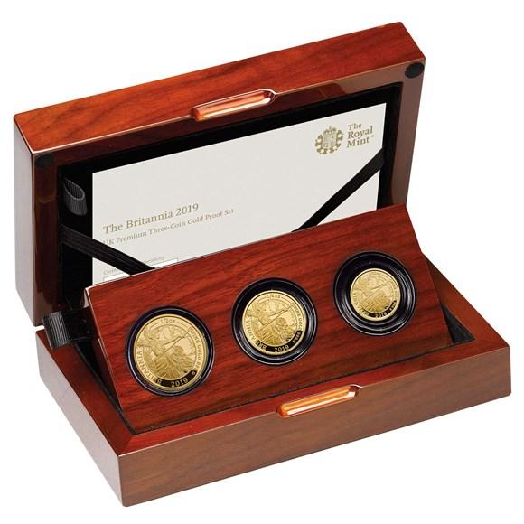 The Britannia 2019 Uk Premium Three Coin Gold Proof Set
