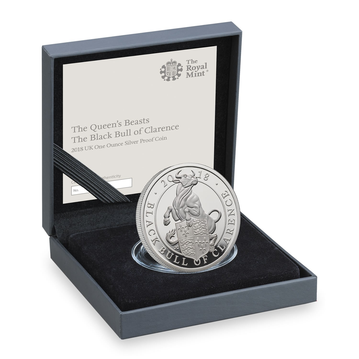 The Queen's Beasts The Black Bull of Clarence 2018 UK One Ounce Silver Proof Coin