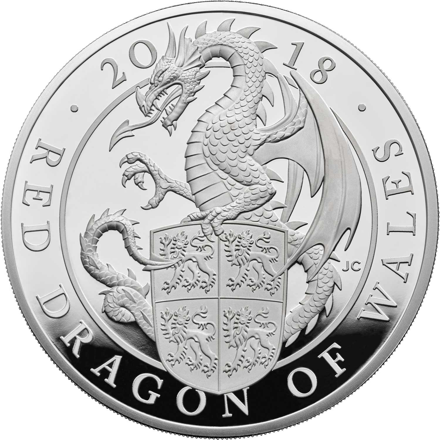 The Queen's Beasts The Red Dragon of Wales 2018 UK Five-Ounce Silver Proof Coin